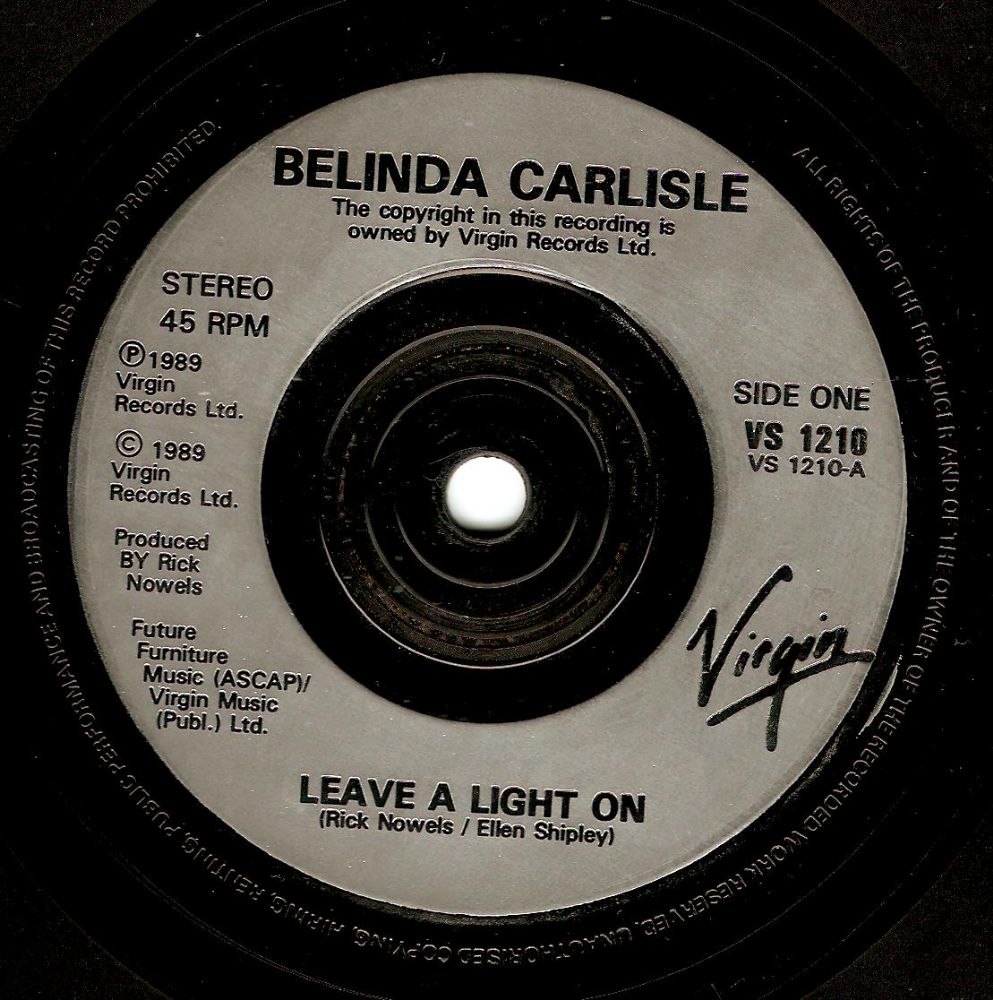 BELINDA CARLISLE Leave A Light On Vinyl Record 7 Inch Virgin 1989